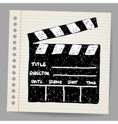 Old clapper board in doodle style vector image vector image