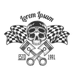Vintage biker rider skull tattoo vector image