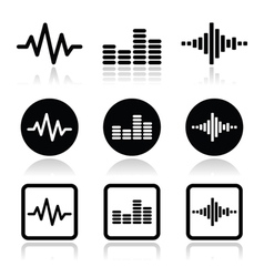 Soundwave music icons set vector