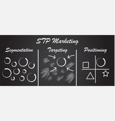 stp marketing diagram - process blackboard vector image