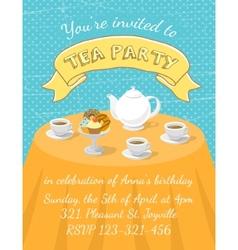 Tea party invitation template vector