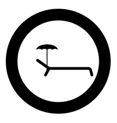 beach chair icon black color in circle or round vector image