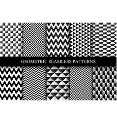 collection of seamless geometric patterns vector image