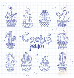 cute hand drawn cactuse set vector image