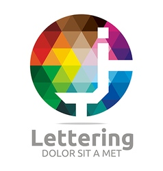 lettering j rainbow alphabet icon vector image vector image