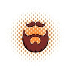Mustache and beard comics icon vector image vector image