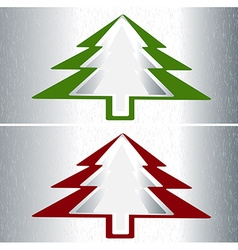 Set of two Christmas trees vector image vector image