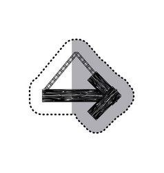 sticker monochrome arrow right shape wooden sign vector image
