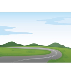 a green landscape and a road vector image