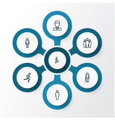 people outline icons set collection of user team vector image vector image