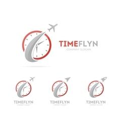 rocket and clock logo combination vector image vector image