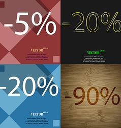 20 90 icon Set of percent discount on abstract vector