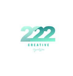 222 green pastel gradient number numeral digit vector