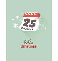 25th December on calendar for Christmas concept vector image