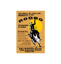 American Rodeo Cowboy riding bull vector image