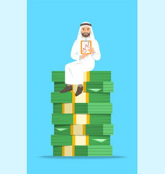 arab businessman sitting on a stack of money vector image