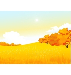 Autumn rural landscape with meadow and vector