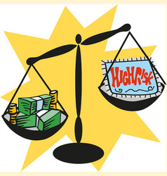 balance scale with cash money high risk concept vector image