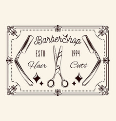 barbershop tools dangerous razor scissors vector image