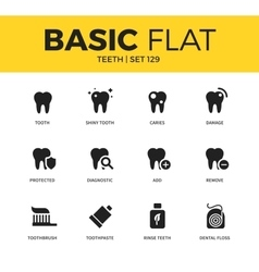 Basic set of Teeth icons vector image