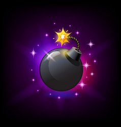 Black round bomb with burning wick icon for slot vector