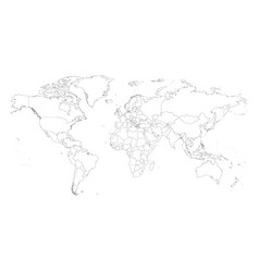Blank outline map of world worksheet for vector