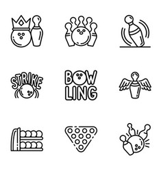 Bowling club icon set outline style vector