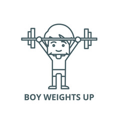 boy weights up line icon boy weights up vector image
