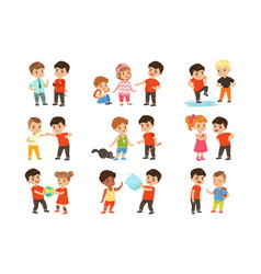 brave children characters confronting hooligans vector image