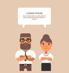Business woman and man in formal wear vector