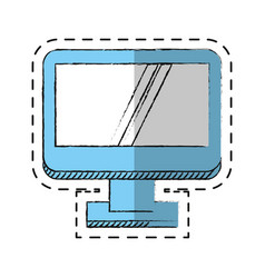 cartoon computer screen device technology vector image