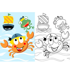 Cartoon cute crab skipper with frog his vector