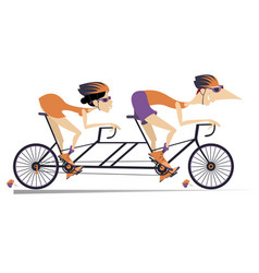 Cartoon man and woman rides a tandem bike isolated vector