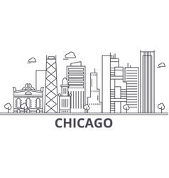 Chicago architecture line skyline vector