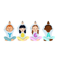 children doing yoga different vector image