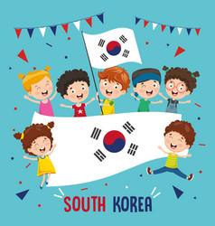 children holding south korea flag vector image