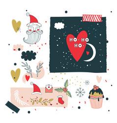 christmas and new year design elements set santa vector image