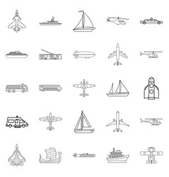 civil transport icons set outline style vector image