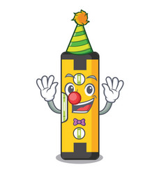 Clown spirit level in a cartoon bag vector
