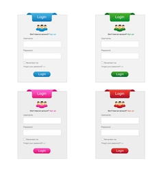 Collection login form vector