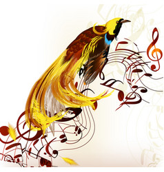 Colorful tropical bird with staves and notes vector