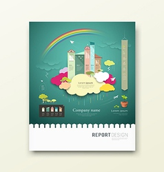 Cover Report colorful paper house clouds ecology vector image
