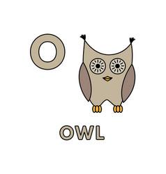Cute cartoon animals alphabet owl vector
