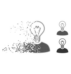 Disappearing pixel halftone bulb inventor icon vector