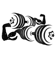 dumbbells and muscular arms vector image