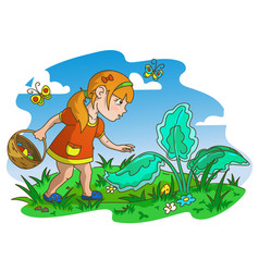 easter egg hunter girl vector image