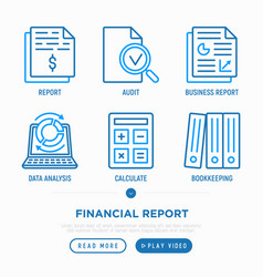financial report thin line icons set vector image