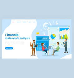 Financial statements analysis landing page vector