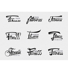 Fitness Premium - badges lettering calligraphy vector image