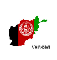 flag map afghanistan isolated on white background vector image
